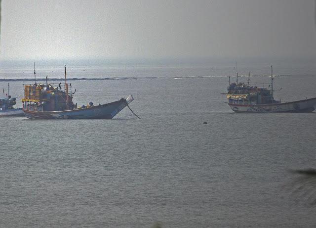fishing boats, gorai beach, mumbai, india, arabian sea,
