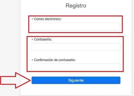 formulario de registro en web kucoin