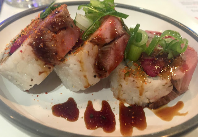 Seared beef and pickle roll Yo Sushi