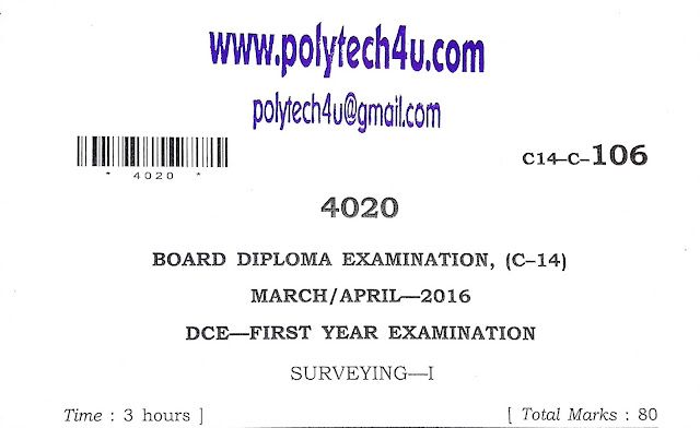 POLYTECHNIC SURVEYING-1 PREVIOUS PAPER 2016