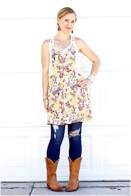 botas vaqueras para mujer con vestido