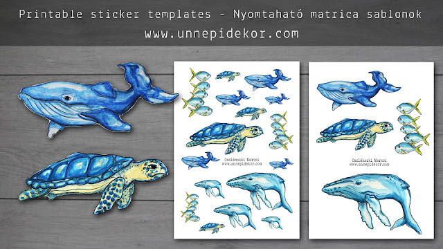 Whale, turtle, fish printable template A4 - Stickers for Bullet Journal, Filofax, Traveler's Notebook