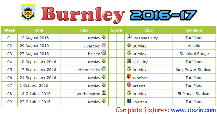 Download Jadwal Burnley FC 2016-2017 File JPG - Download Kalender Lengkap Pertandingan Burnley FC 2016-2017 File JPG - Download Burnley FC Schedule Full Fixture File JPG - Schedule with Score Coloumn