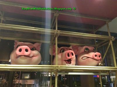 Pig figurines, Naughty Nuri's Restaurant, Life Centre, KL, Malaysia
