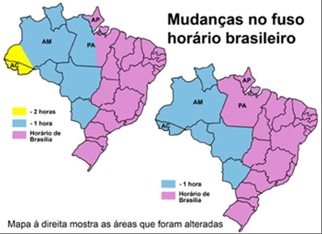 b416ccbffd3 Estas alterações ocorreram a partir de 24 de abril de 2008 a Lei Federal nº  11.662 reduziram a quantidade de fusos horários do Brasil para três.