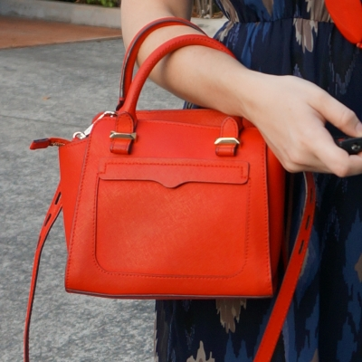 navy dress, Rebecca Minkoff red micro Avery cross body bag | away from the blue