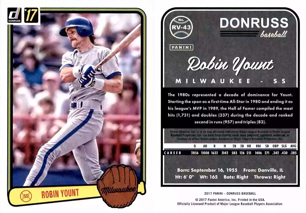 The Yount Collector 2017 Panini Donruss Robin Yount Checklist And