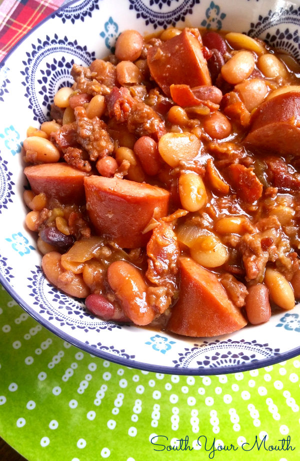 south your mouth three meat crock pot cowboy beans