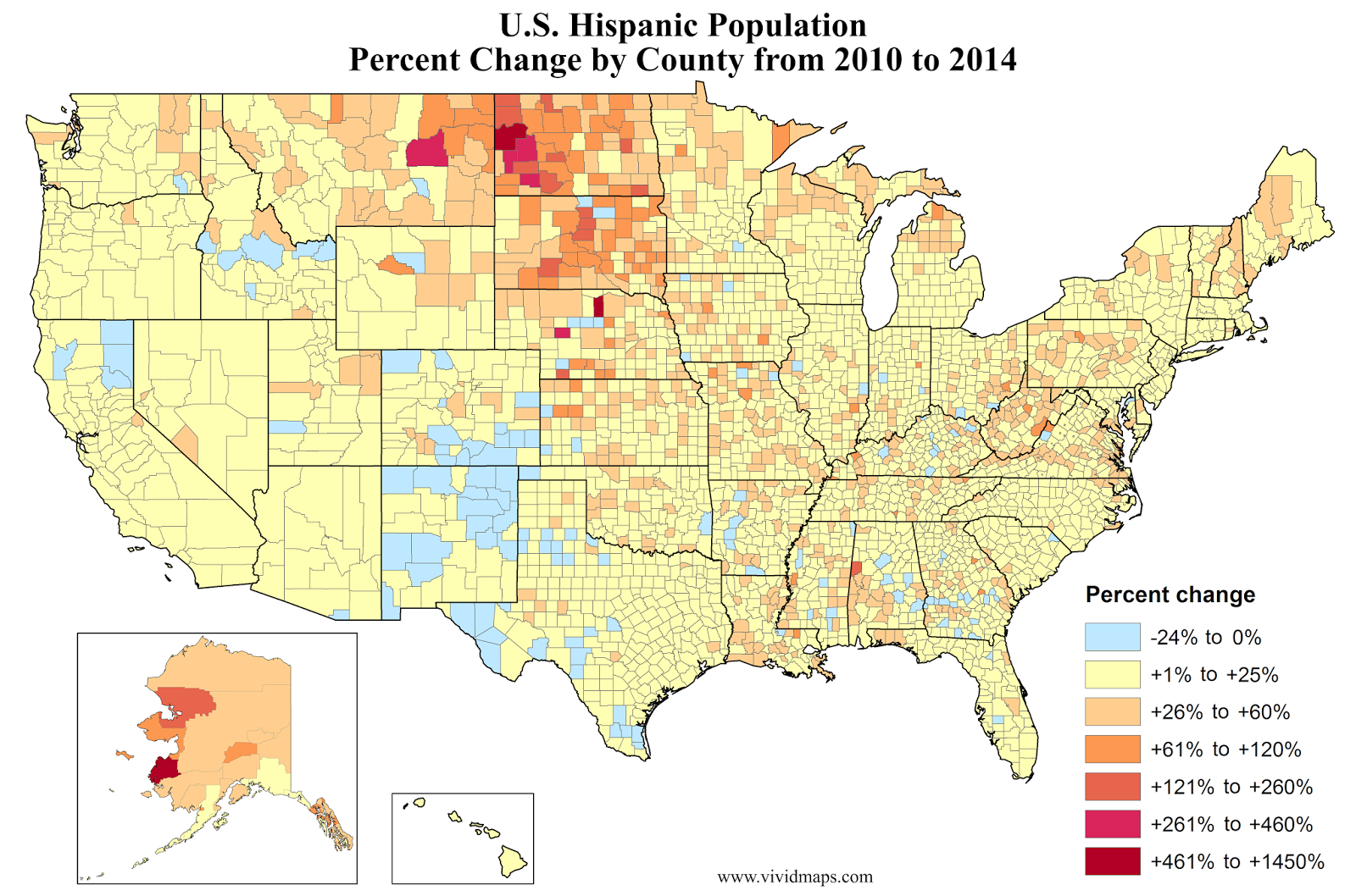 U.S. Hispanic population, percent increase by county