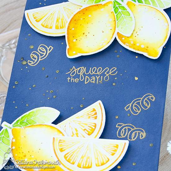 Squeeze the Day Card by Tatiana Trafimovich | Lemon Twist Stamp Set by Newton's Nook Designs #newtonsnook #handmade