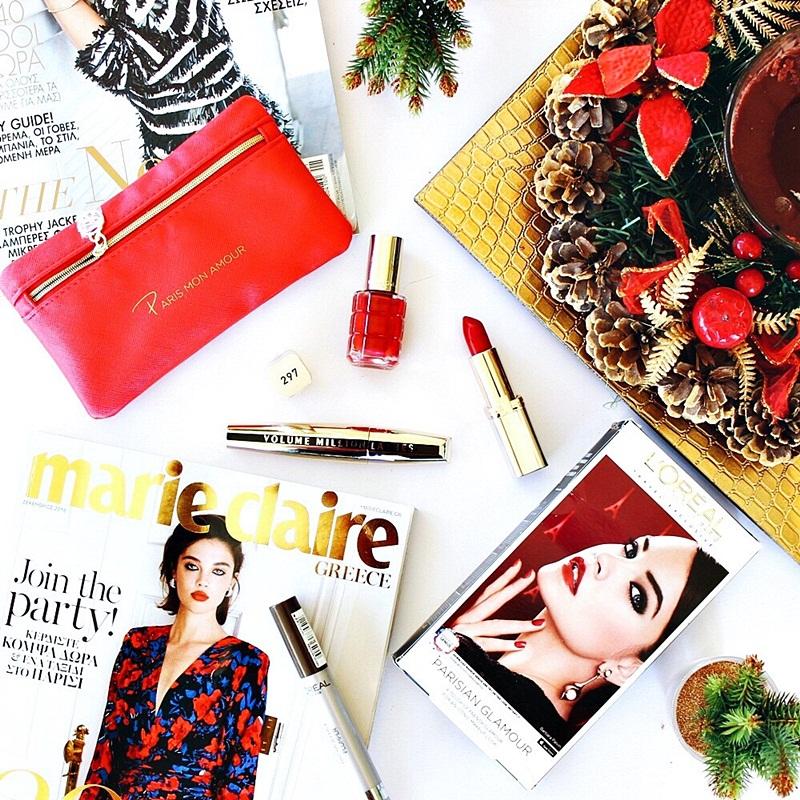 L'Oreal Parisian glamour travel red makeup kit- nail polish, lipstick and mascara