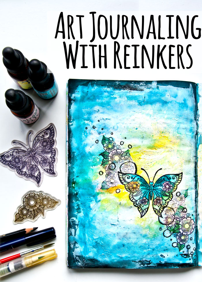 How to use reinkers in your art journal, with a video by Kim Dellow