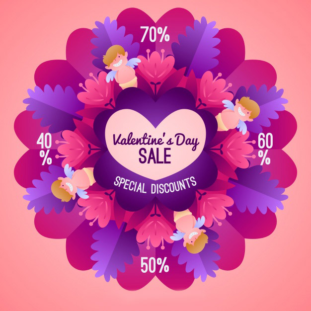 Valentines day sale background with feathers Free Vector