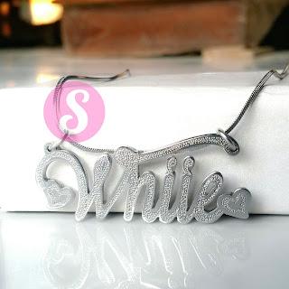 kalung nama monel silver grafir - whiie