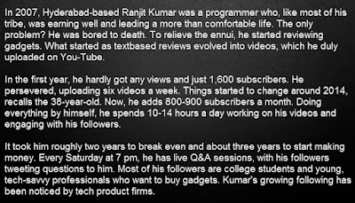 About Ranjit Kumar - Top 10 Indian Youtube Superstars 2017