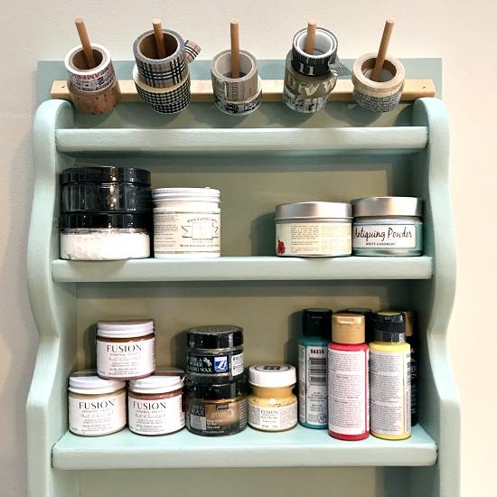 Craft supply shelf