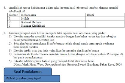 Soal hots Teks Laporan Hasil Observasi Beserta Kunci Jawaban