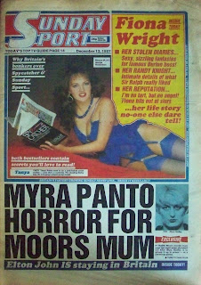 Tanya Prime on the front page of a vintage Sunday Sport newspaper from 1987