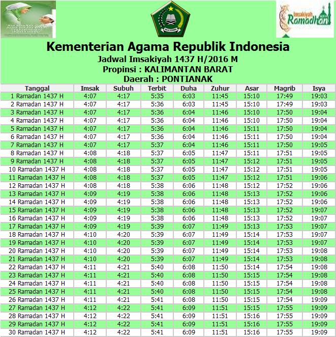 DataPedia: Jadwal Imsakiyah Puasa Ramadhan 2016/1437 H