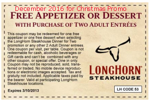 Longhorn Steakhouse coupons december 2016