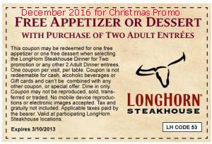 Longhorn Steakhouse coupons december 2016