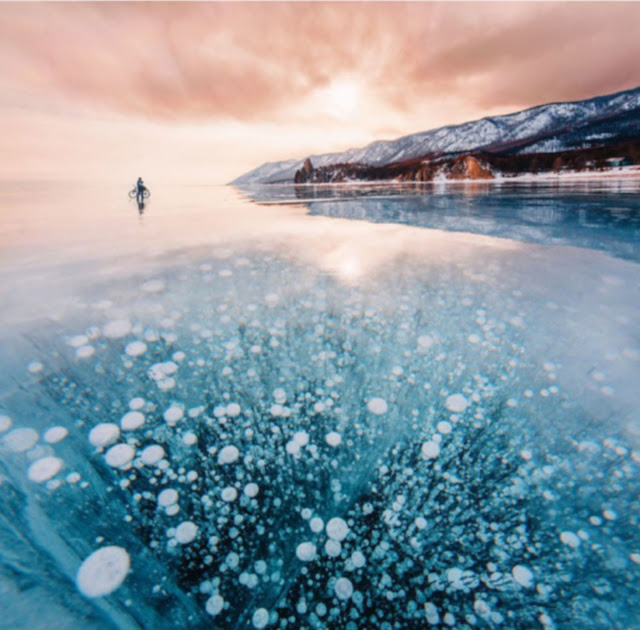 Frozen Baikal, the deepest and oldest lake on earth