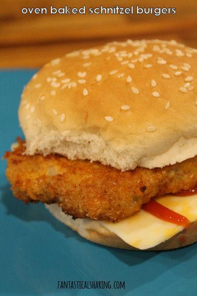 Oven Baked Schnitzel Burgers // Crispy oven baked schnitzel makes a perfect sandwich! #recipe #pork #schnitzel #German #sandwich
