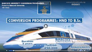 Babcock University Conversion (HND to B.Sc) Form 2021/2022