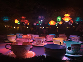 Disneyland Mad Tea Party ride at night empty