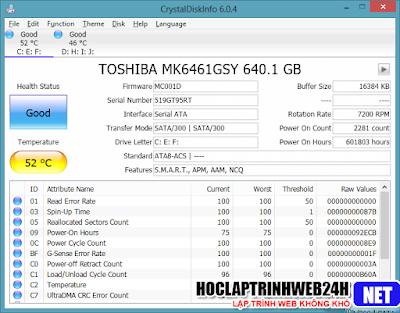CrystalDiskInfo 6 0 4 Final + Portable - Phần mềm kiểm tra tình