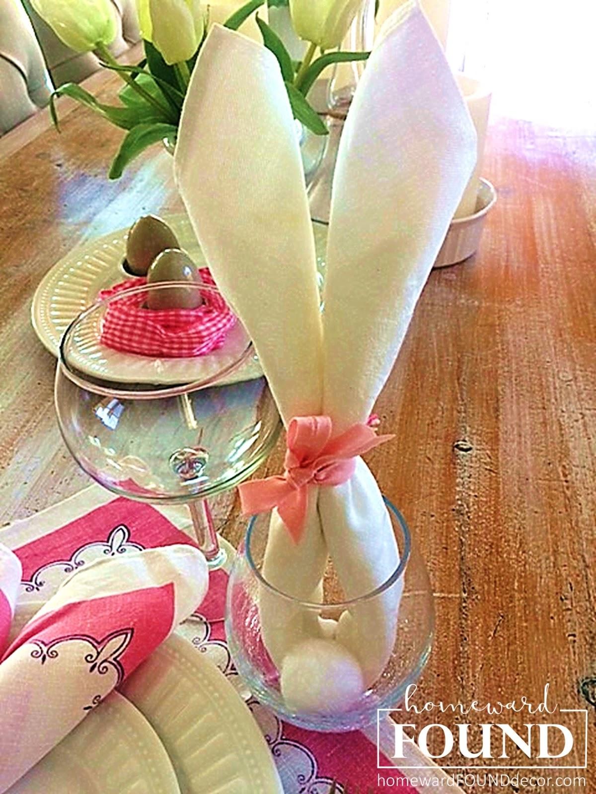 thrifty weekend makeover part i homewardfound decor.htm tutorial  bunny ears  napkins  homewardfound decor  tutorial  bunny ears  napkins