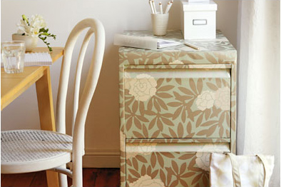Make Your Boring Gray Filing Cabinet Something Special By Covering It In Wallpaper First Remove The Handles And Pull Out Drawers
