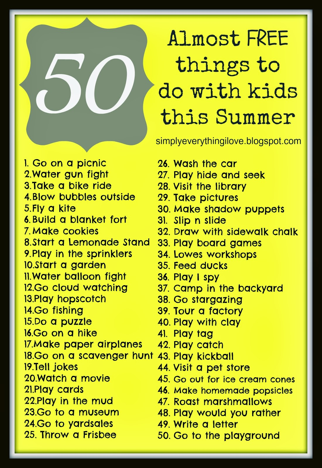 Simply Everthing I Love 50 Almost Free Things To Do
