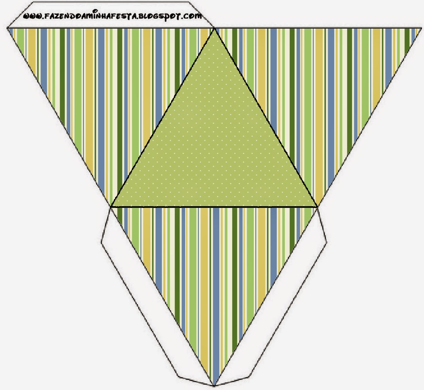 Green, Blue and Orange, Free Printable Pyramid Box.