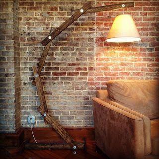 giant reclaimed wood lamp