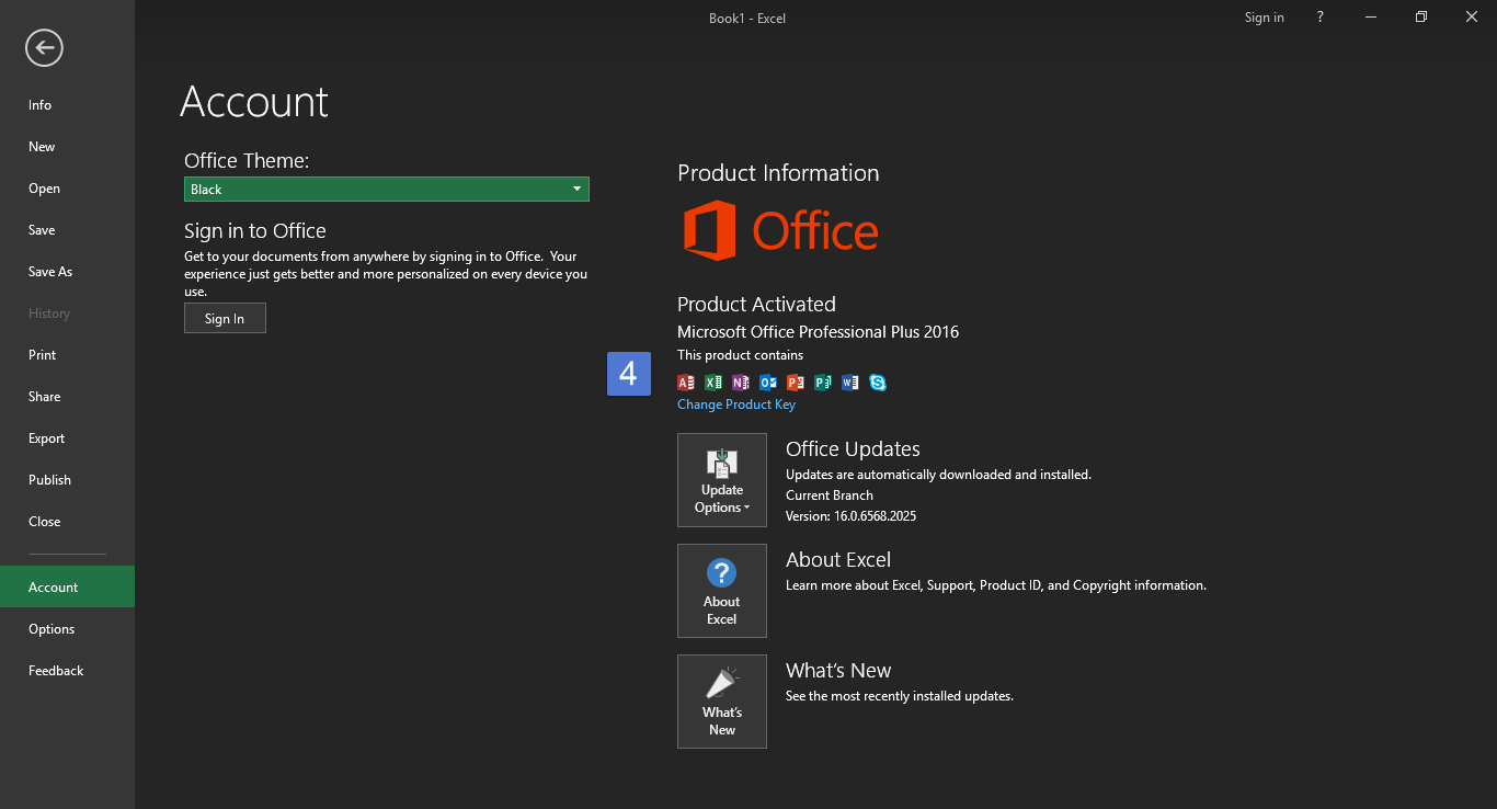 How to enable Black theme in Microsoft Office 2016