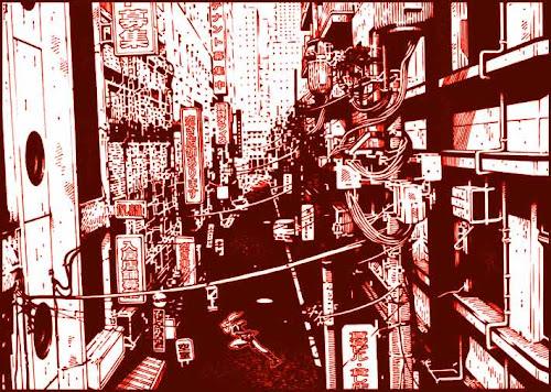1990年代初頭の上野の裏路地を撮影した写真をもとに描いた絵