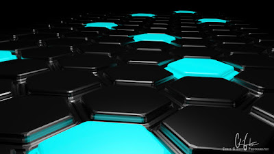 abstract futuristic background with a landscape of extruded hexagons made with blender