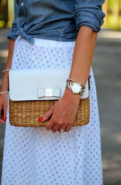 wiklinowa torebka biała z kokardką