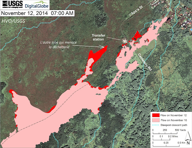 Cartographie de la coulée de lave du volcan Kilauea, 12 novembre 2014
