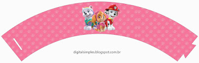 Paw Patrol, Skye: Free Printable Cupcake Wrappers and Toppers.