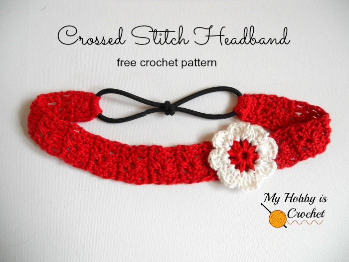 Crossed Stitch Headband with Flower Applique (Adult Size) - Free Crochet Pattern: Written Instructions and Crochet Chart