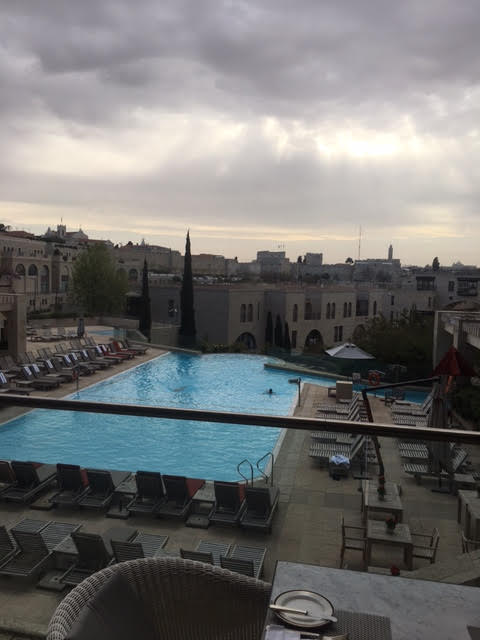 View from King David Hotel Jerusalem Israel overlooking the pool