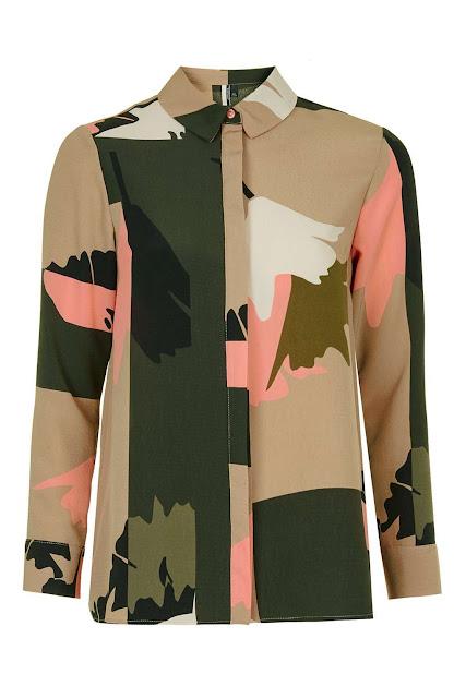 peach green pattern shirt, topshop green pink shirt, green pink pattern shirt,