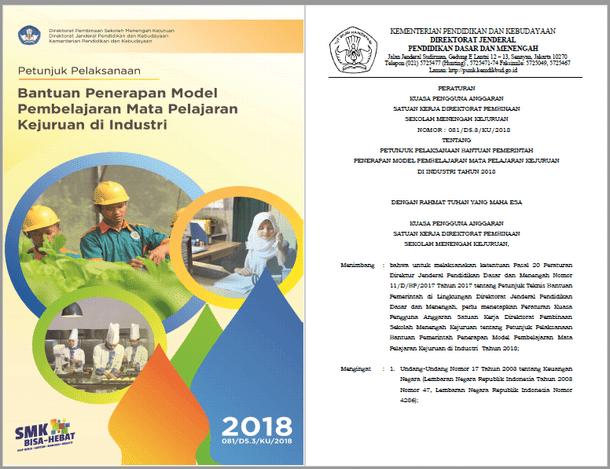 Juklak Bantuan Penerapan Model Pembelajaran Mata Pelajaran Kejuruan di Industri SMK Tahun 2018