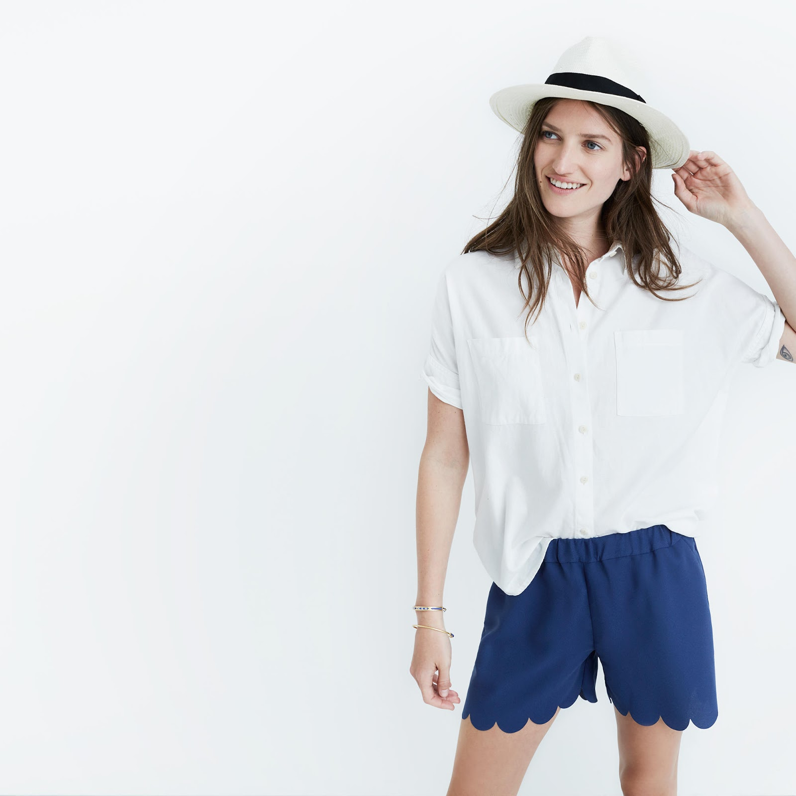 Madewell pull on scallop shorts