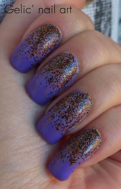 Gelic' nail art: Halloween glitter gradient