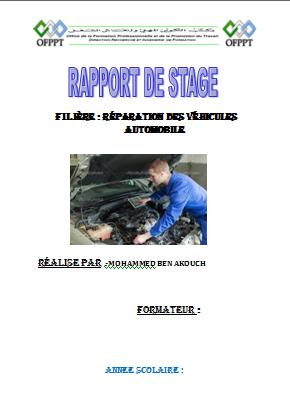 rapport de stage Réparation des Véhicules Automobile
