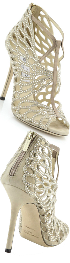 Jimmy Choo Fyonn Crystal-Embellished Laser-Cut Suede Sandals