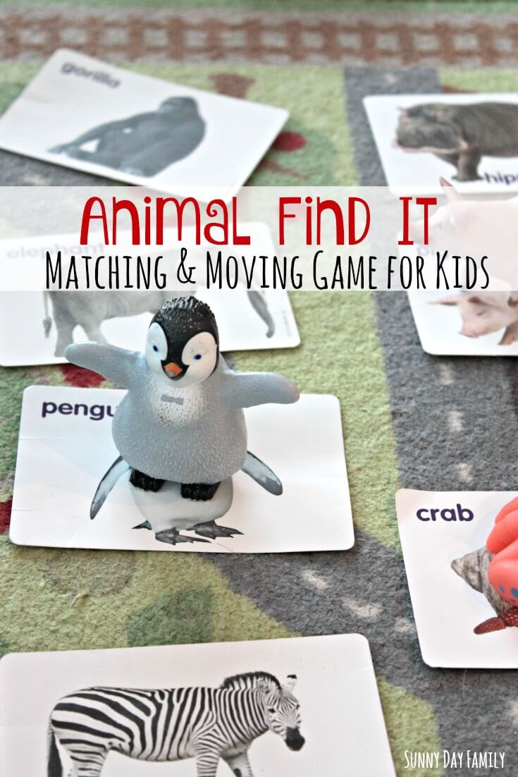 Get your preschoolers thinking and moving with this fun indoor boredom buster! Find and match animals in this easy learning activity for preschoolers.
